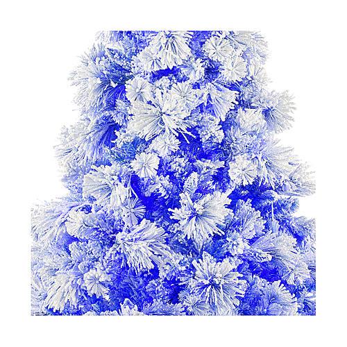 Árvore de Natal azul PVC e Poly 270 cm modelo V. Burgundy com geada e pinhas 600 luzes para Exterior 2