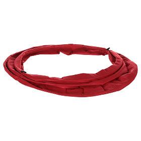 Falda cubre base Árbol Navidad paño rojo diám. 68 cm s4