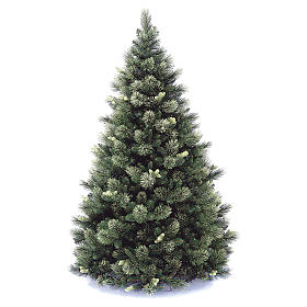Sapin de Noël artificiel 225 cm couleur verte pommes de pin Carolina s1