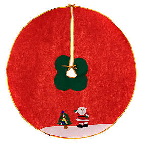 Christmas Tree base cover, red with image of Santa Claus 100 cm s1