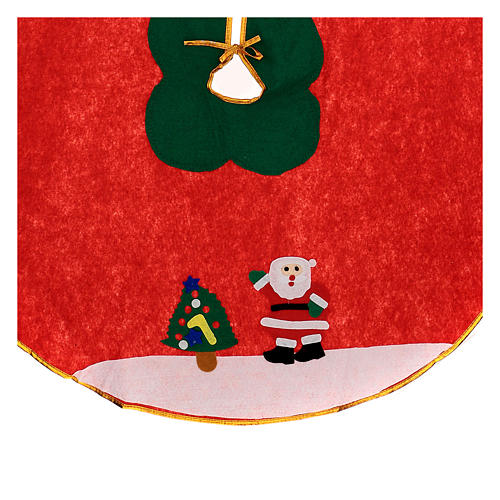 Christmas Tree base cover, red with image of Santa Claus 100 cm 2