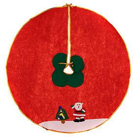 Cache-pied sapin de Noël rouge feutre 100 cm Père Noël s1
