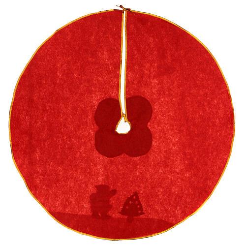 Cache-pied sapin de Noël rouge feutre 100 cm Père Noël 4