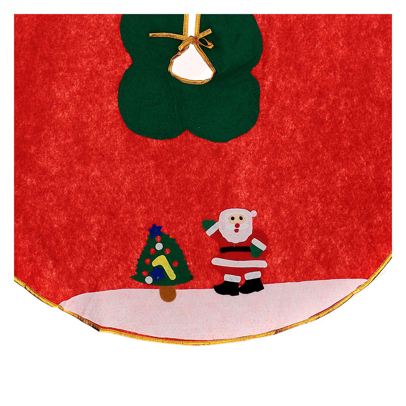Copribase albero di Natale rosso panno 100 cm Babbo Natale 3