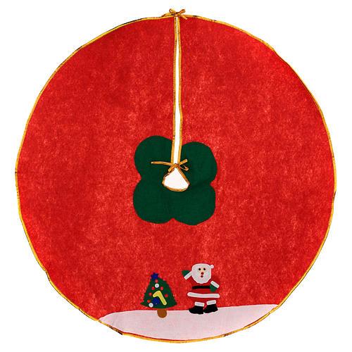 Copribase albero di Natale rosso panno 100 cm Babbo Natale 1