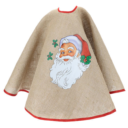 Christmas Tree base cover in jute with Santa Claus 100 cm 3