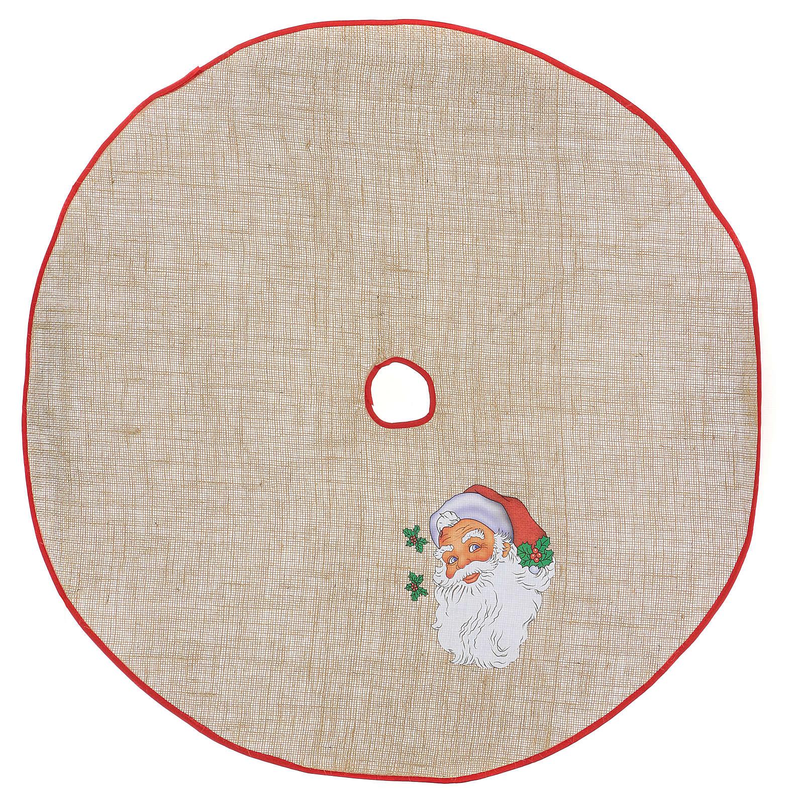 Falda cubre base yute para Árbol estampa Papá Noel 100 cm 3