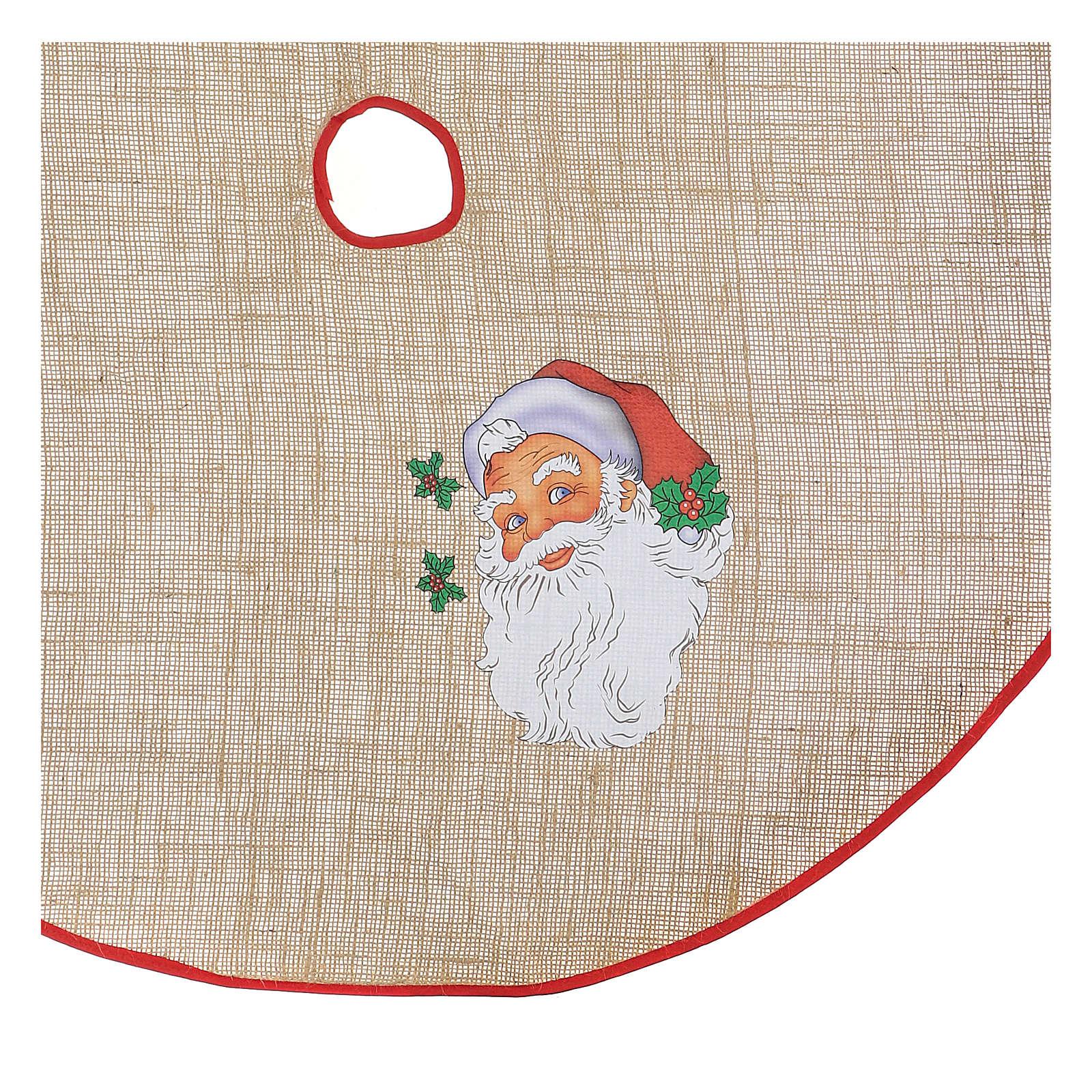 Cache-pied jute pour sapin impression Père Noël 100 cm 3