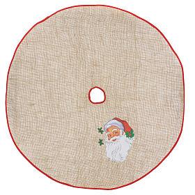 Sapins de Noël: Cache-pied jute pour sapin impression Père Noël 100 cm