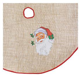 Cache-pied jute pour sapin impression Père Noël 100 cm s2