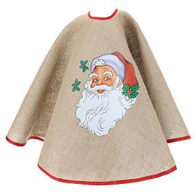 Cache-pied jute pour sapin impression Père Noël 100 cm s3