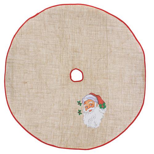 Cache-pied jute pour sapin impression Père Noël 100 cm 1