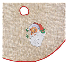 Copribase iuta per albero stampa Babbo Natale 100 cm s2