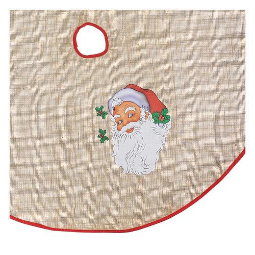 Copribase iuta per albero stampa Babbo Natale 100 cm 2