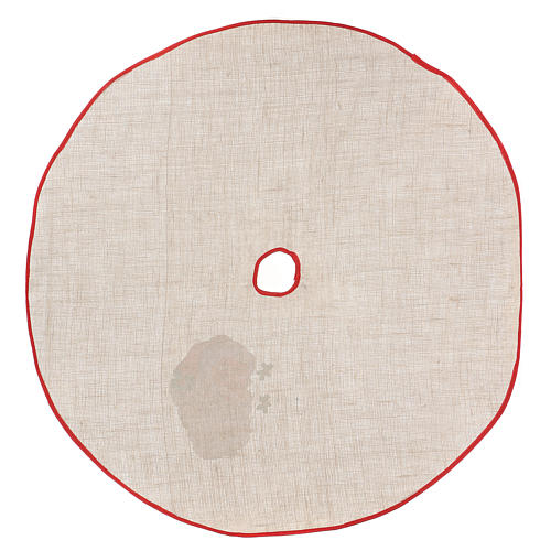 Copribase iuta per albero stampa Babbo Natale 100 cm 4