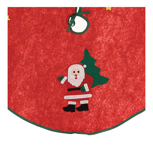 Weihnachtsbaum-Fussabdeckung roten Polyester mit Weihnachstmann 77cm 2