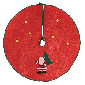Sapins de Noël: Cache-pied rouge pour sapin Noël Père Noël étoiles 77 cm