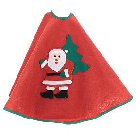 Cache-pied rouge pour sapin Noël Père Noël étoiles 77 cm s3