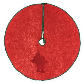 Cache-pied rouge pour sapin Noël Père Noël étoiles 77 cm s4