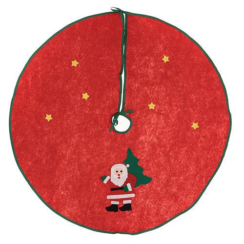 Cache-pied rouge pour sapin Noël Père Noël étoiles 77 cm 1