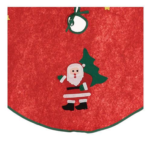 Cache-pied rouge pour sapin Noël Père Noël étoiles 77 cm 2