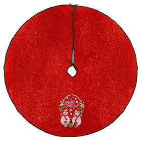 Christmas Tree base cover, red with happy new year writing 120 cm s1