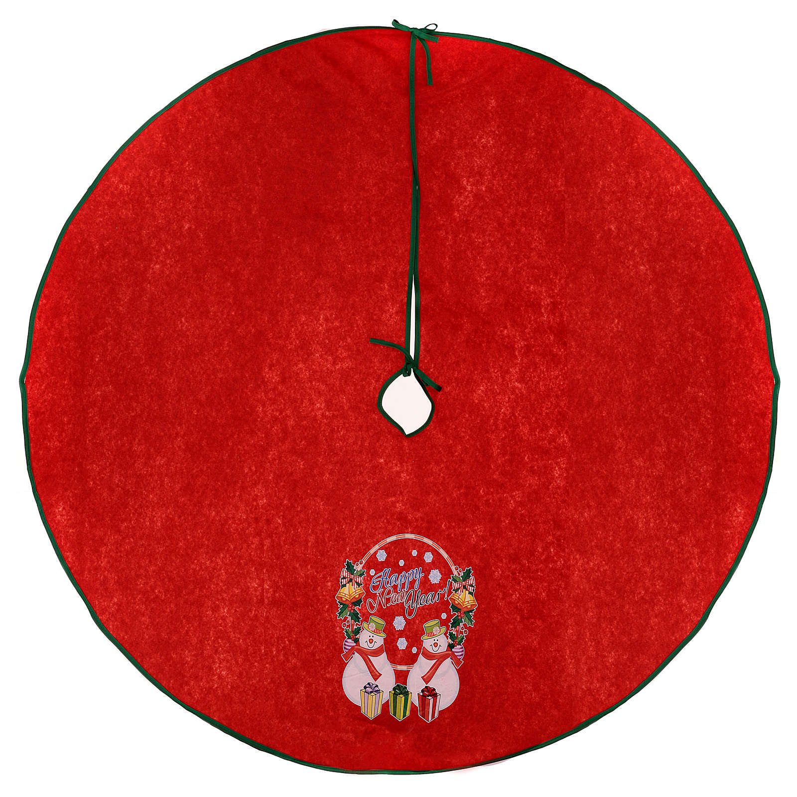 Falda cubre base para Árbol de Navidad rojo Happy New Year 120 cm 3