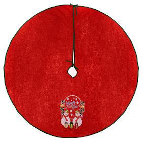 Falda cubre base para Árbol de Navidad rojo Happy New Year 120 cm s1