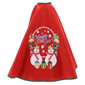 Falda cubre base para Árbol de Navidad rojo Happy New Year 120 cm s3