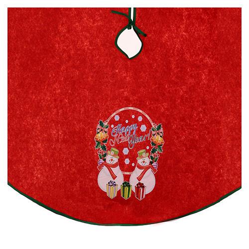 Falda cubre base para Árbol de Navidad rojo Happy New Year 120 cm 2