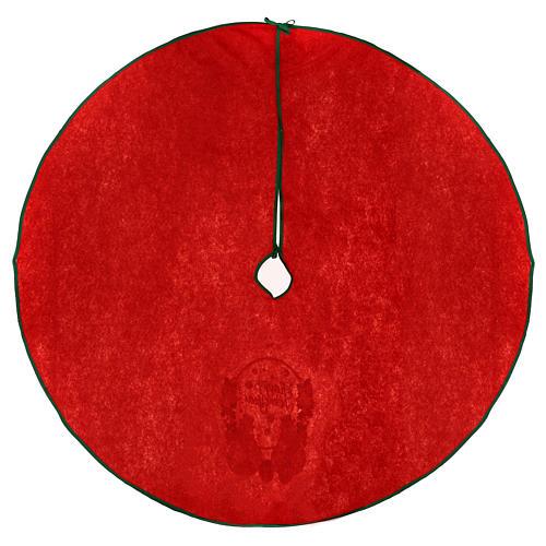 Falda cubre base para Árbol de Navidad rojo Happy New Year 120 cm 4