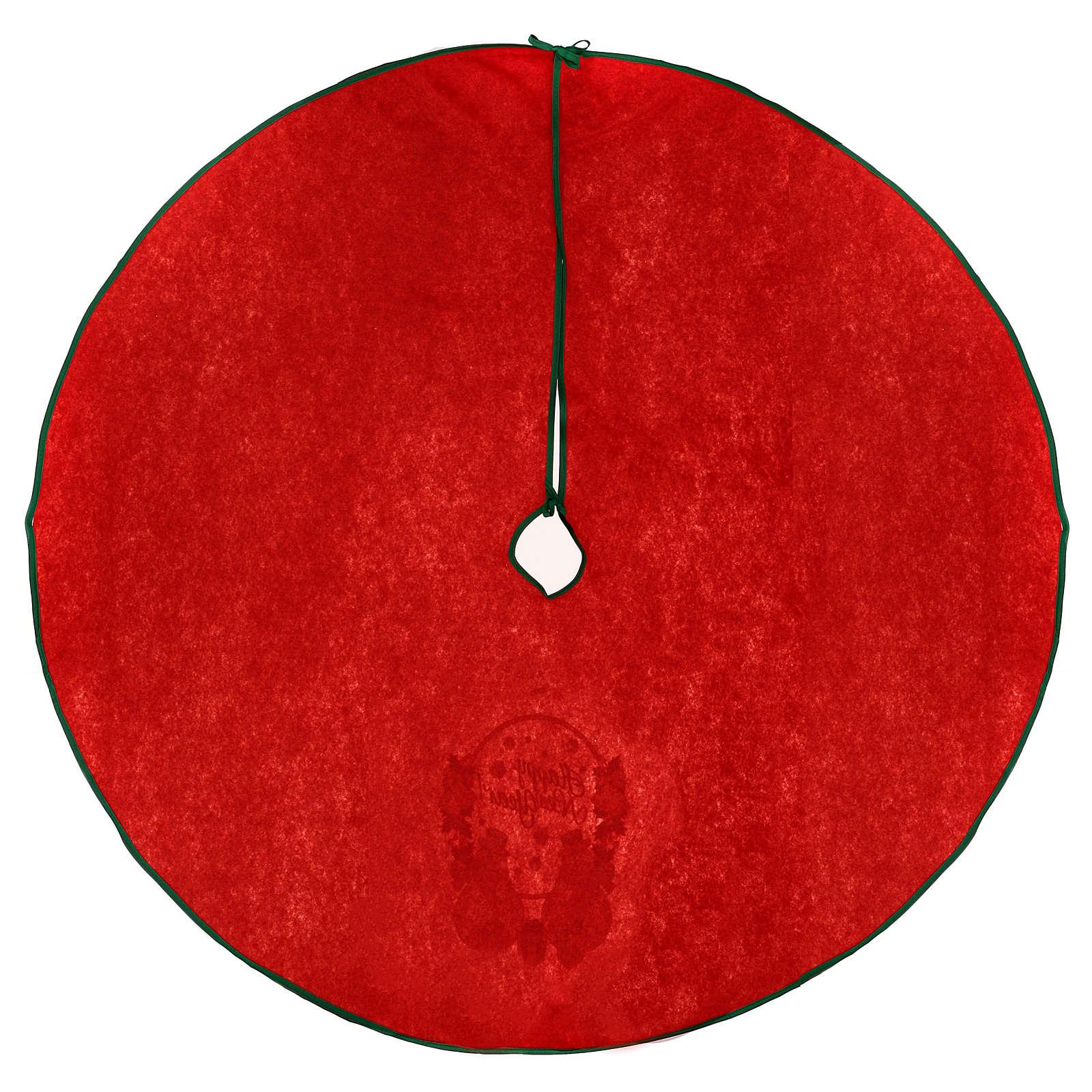 Cache-pied sapin de Noël rouge Happy New Year 120 cm 3