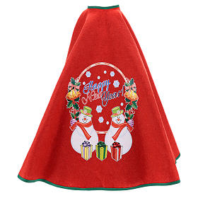 Cache-pied sapin de Noël rouge Happy New Year 120 cm s3