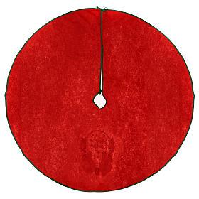 Copribase albero di Natale rosso Happy New Year 120 cm s4