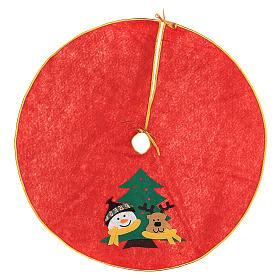 Weihnachtsbaum-Fußabdeckung roten Polyester Schneemann und Rentier 84cm s1