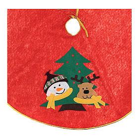 Weihnachtsbaum-Fußabdeckung roten Polyester Schneemann und Rentier 84cm s2
