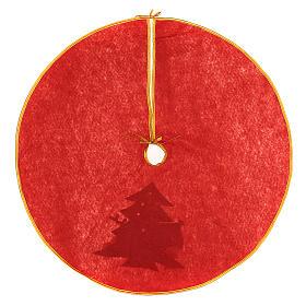 Weihnachtsbaum-Fußabdeckung roten Polyester Schneemann und Rentier 84cm s4