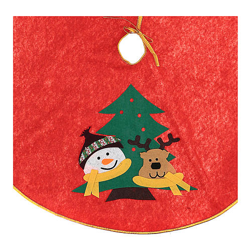 Weihnachtsbaum-Fußabdeckung roten Polyester Schneemann und Rentier 84cm 2