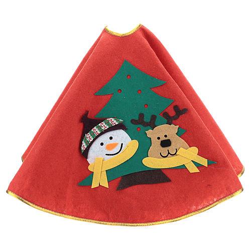 Weihnachtsbaum-Fußabdeckung roten Polyester Schneemann und Rentier 84cm 3