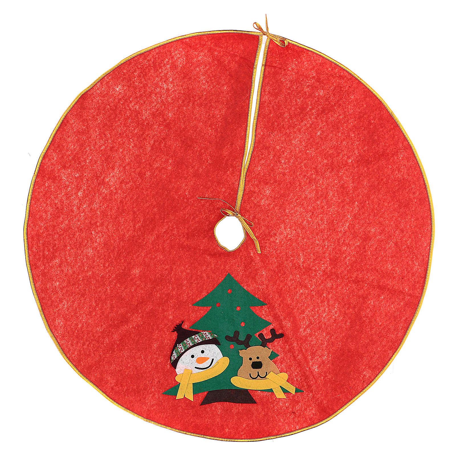 Falda cubre base Árbol de Navidad Muñeco de nieve y reno 84 cm 3