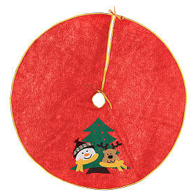 Sapins de Noël: Cache-pied sapin de Noël Bonhomme de neige et renne 84 cm