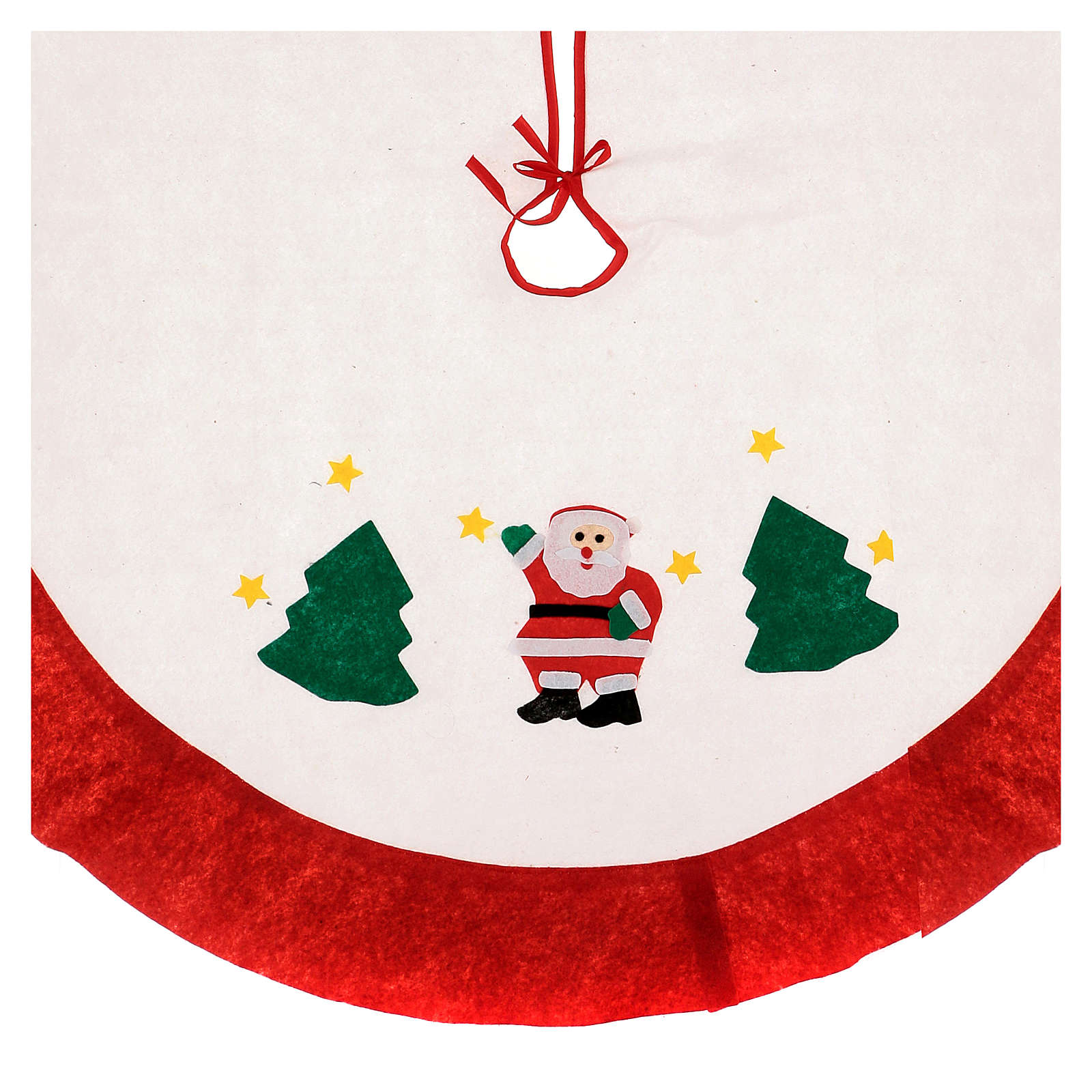 Christmas Tree base cover, white with red edge 105 cm 3