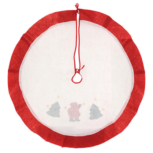 Christmas Tree base cover, white with red edge 105 cm 4