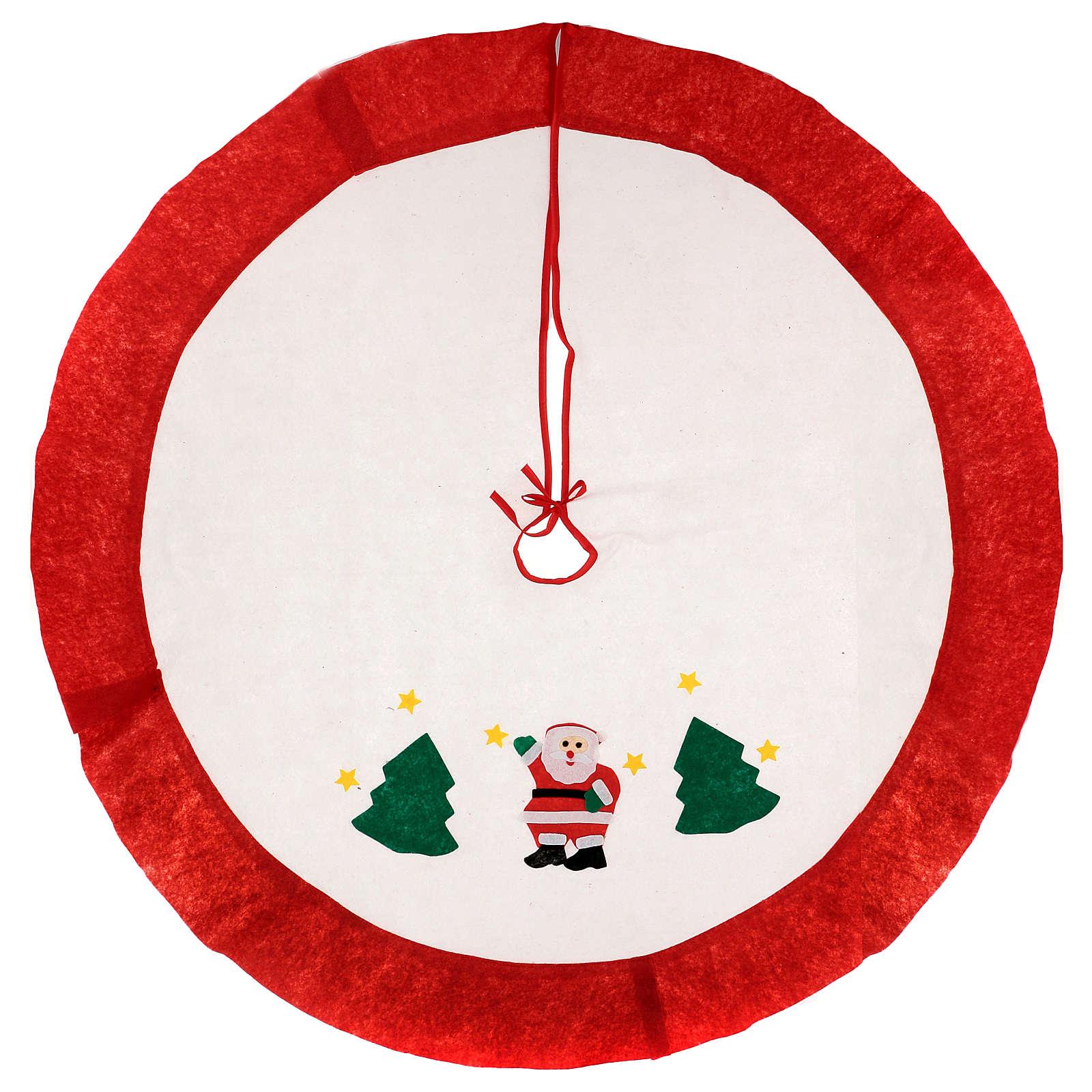 Falda cubre base Árbol de Navidad blanco borde rojo 105 cm 3