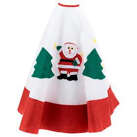 Falda cubre base Árbol de Navidad blanco borde rojo 105 cm s3