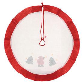 Falda cubre base Árbol de Navidad blanco borde rojo 105 cm s4