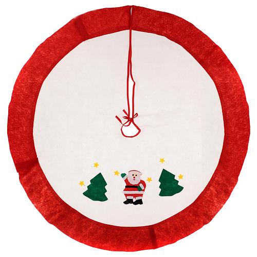 Falda cubre base Árbol de Navidad blanco borde rojo 105 cm 1