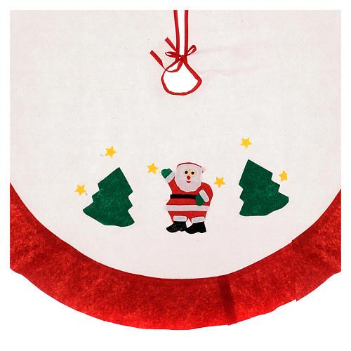 Falda cubre base Árbol de Navidad blanco borde rojo 105 cm 2