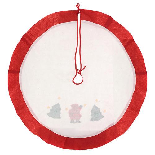 Falda cubre base Árbol de Navidad blanco borde rojo 105 cm 4