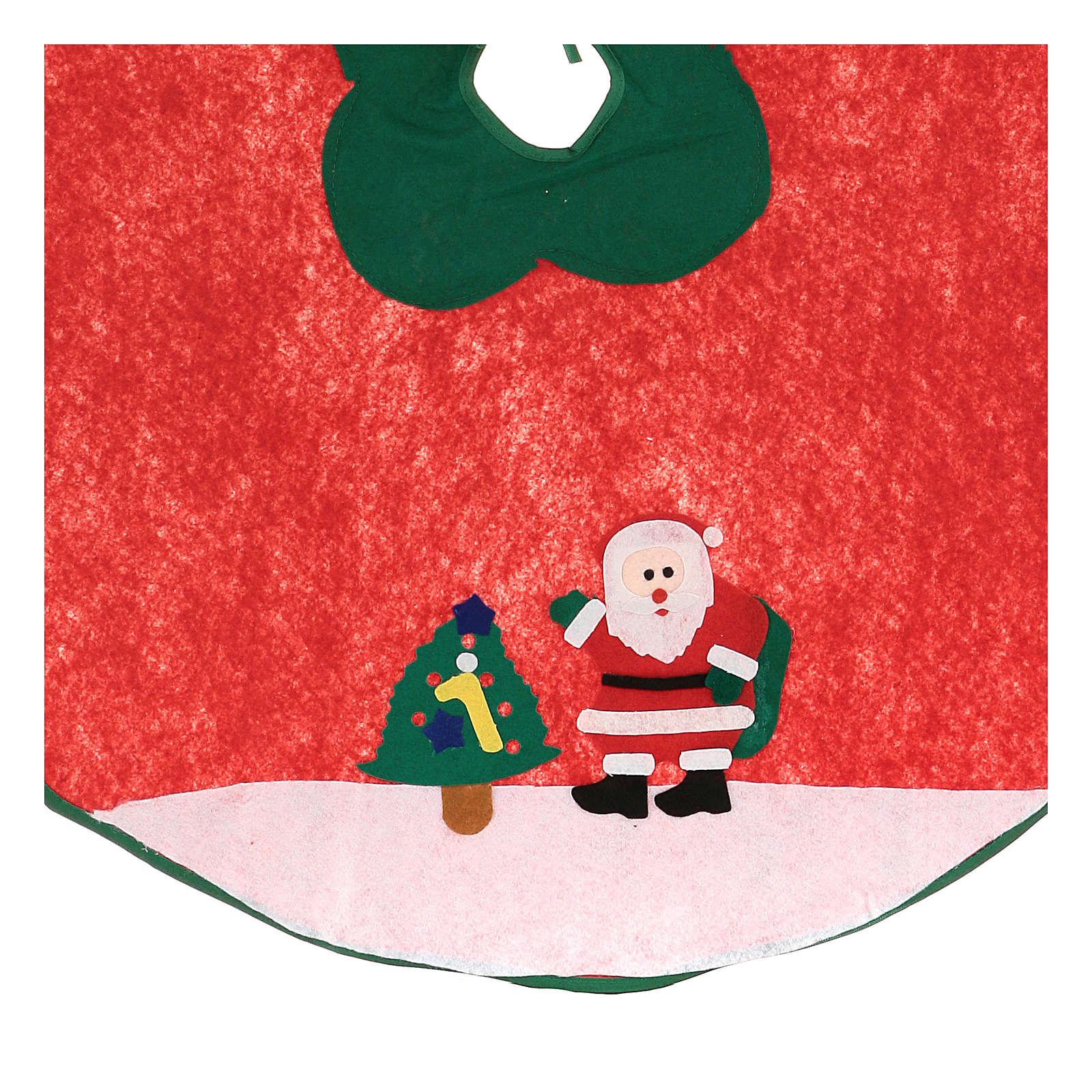 Falda cubre base Árbol de Navidad Papá Noel y arbolito 100 cm 3
